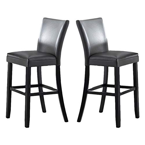 mickyshoes Dining Chairs with Solid Wood Legs and PU Cushion Armless Chairs for Kitchen Living Room Hotel Weeding Lounge Reception, Set of 2, Dark Gray