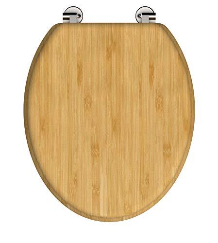 SCHÜTTE WC-Sitz BAMBUS, massiver Toilettendeckel aus nachhaltigem Rohstoff (Bambus), passend für alle handelsüblichen WC-Becken, maximale Belastung der Klobrille 150 kg 81001