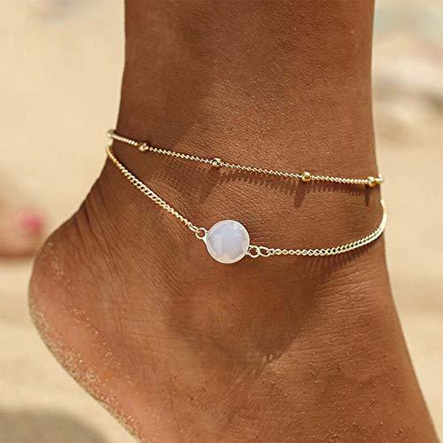 TseenYi Tobillera de piedra lunar de ópalo Boho en capas de oro pulsera de tobillo de verano para la playa y la cadena de pie para mujeres y adolescentes (oro)