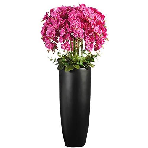 FOTGL Gran Ramo de Flores de Flor de phalaenopsis de orquídea Artificial con jarrón Negro, arreglos para el hogar, Oficina, decoración de la Sala de Estar
