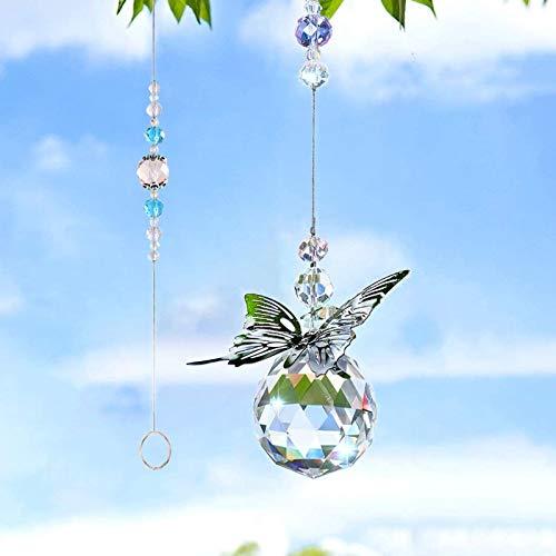 Colgantes de Cristal Mariposa,Cristal arcoíris,Bola de Cristal Colgante de Cristal, Arcoiris de...
