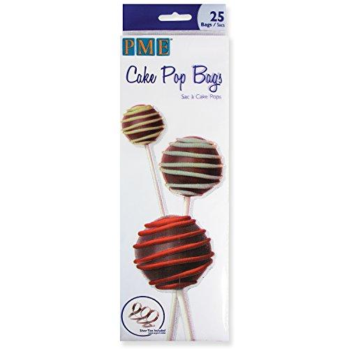 PME Kuchenpop-Tüten mit verschlussbändern, Kunststoff, Transparent, 8 x 0.1 x 25 cm, 25-Einheiten