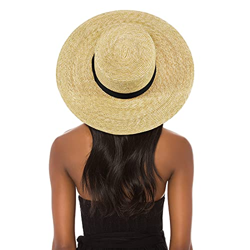FEMSÉE Straw Beach Hat - Sun Hats for Women and Men Flat Top Classic Boater Hat (Natural+Black)