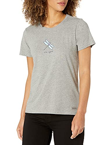 Life is Good Women's Vintage Crusher Graphic T-Shirt, Dragonfly, Heather Gray, Small