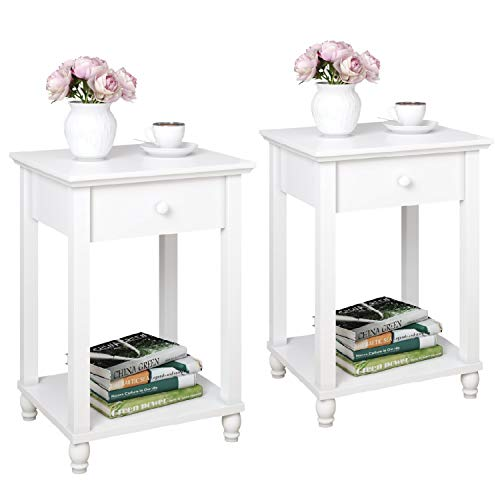 Joolihome Bedside Tables Set of 2, White Nightstand Cabinet with Drawer Side Table for Living Room, Bedroom, 44 x 38 x 62 cm