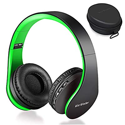 Wireless Bluetooth Over Ear Stereo Foldable Headphones, Wireless and Wired Mode Headsets with Soft Memory-Protein Earmuffs,Built-in Mic for Mobile Phone TV PC Laptop (Black-Green) by Worwoder
