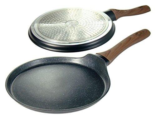 Poêle à crêpes de 25 cm avec revêtement en granit et plaque de cuisson à induction, gaz, électrique, vitrocéramique.