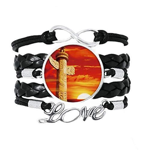 41YTKLD0aiL - DIYthinker Roter Sonnenhimmel Ornament Säule China Armband Liebeszubehör gedrehtes Leder Strickseil Armband Geschenk