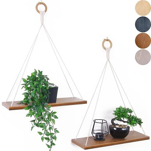 FORESTBARN Hanging Shelves -Set of 2- Floating Shelves for Wall - Boho Wall...