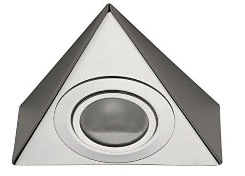 3 x 20 W Set - 12 V G4 Halogen Dreieck Küchen Unterbauleuchten Set chrom glänzend inkl. Trafo