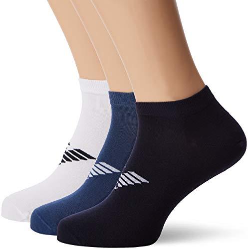 Emporio Armani Herren Socken, 3er Pack, Weiß (Bianco/Blu/Denim 58610), 43/46 (Herstellergröße: L)