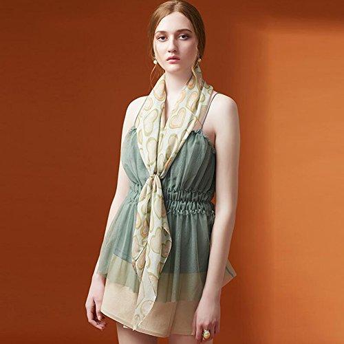 YQQ-écharpe Femme Haut De Gamme 100% Soie De vers À Soie Mousseline Echarpe Châle 110 * 110cm (Couleur : Orange)