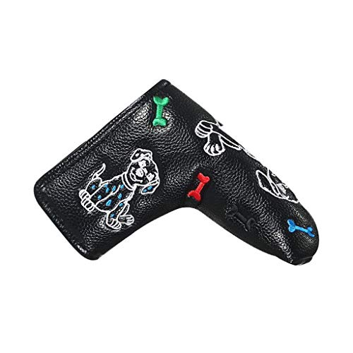 SJJOZZ Golf Club Cap Set Funda de Varilla de Empuje de una Forma Cubierta de Cabeza de Varilla Recta Funda de protección de Material de PU/Cuatro Colores Opcional (Color : Black)