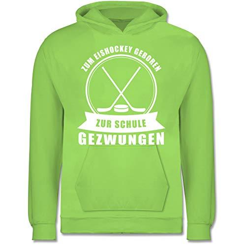 Sport Kind - Zum Eishockey geboren. Zur Schule gezwungen - 98 (1/2 Jahre) - Limonengrün - JH001K_Kinder_Hoodie - JH001K - Kinder Hoodie