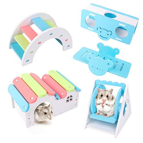 5Piezas Juguetes para Hámsters Material Plástico de PVC Dos Columpios Diferentes, un Balancín, un Puente Arcoíris, una Casita Juguete para Actividades de Animales Pequeños