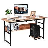 Tangkula 55' Computer Desk, Drafting Desk w/Storage Shelf & CPU Stand, Craft Workstation w/Tiltable Desktop for Artist, Home Office Desk (Walnut)