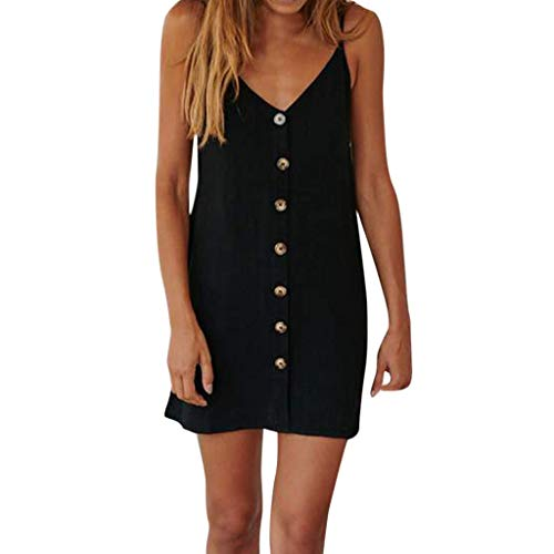 Find Bargain WILLTOO Women Casual Button Casual V-Neck Sling Sleeveless Mini Dress