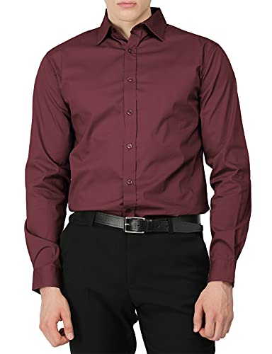 H2H Mens Casual Slim Fit Button Down Spandex Premium Long Sleeve Shirts Wine US S/Asia M (CMTSTL0134)