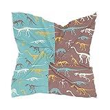 Ahomy Pañuelo cuadrado con diseño de dinosaurios y fósiles de esqueletos clásicos para mujer, sensación de seda, 60 cm x 60 cm