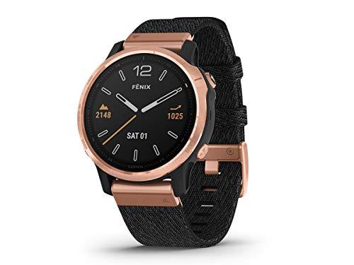Garmin Fenix 6S Sapphire Edition 010-02159-37 Armbanduhr mit schwarzem meliertem Stoffband
