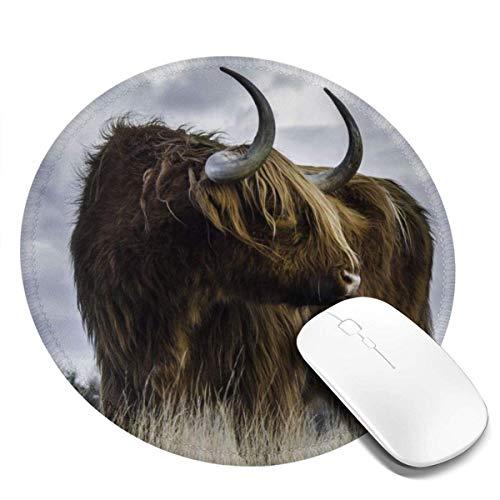 Scotland Yak Round Mouse Pad mit kreisförmiger Gaming-Mausmatte, rutschfestem Mousepad auf Gummibasis 7,87 x 7,87 Zoll