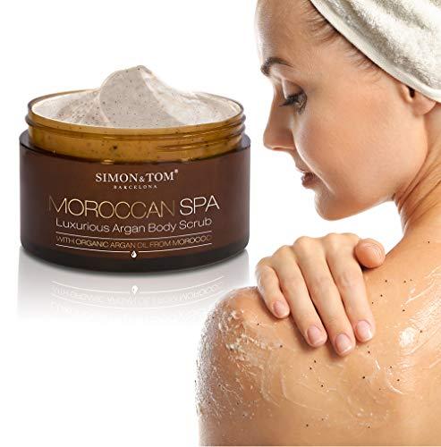 LUJOSO EXFOLIANTE CORPORAL MOROCCAN SPA - Con aceite de argán, almendras y partículas de cáscaras de argán - Producto vegano libre de parabenos y sulfatos / 200 ml