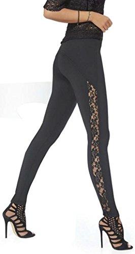 Pariser-Mode Leggings mit seitlichem Spitzeneinsatz, super schick und elegant !