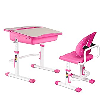 Mecor Kids Desk and Chair Sets,Height Adjustable Student Study Table with Chair Ergonomic Winged Backrest Children Writing Table,Built-in Drawer Storage  Pink