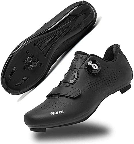 KUXUAN Zapatillas de Ciclismo para Hombre con SPD,Zapatillas Peloton con Hebilla Delta Compatibles para Competiciones de Equitación en Interiores,Black-38 EU