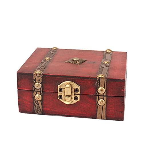 Cofre del Tesoro Pirata De Estilo Vintage Caja De Joyería De Madera Vintage Caja Hecha A Mano con Mini Cerradura De Metal para Almacenar Joyas De Maquillaje De Perlas del Tesoro Dise?o Retro