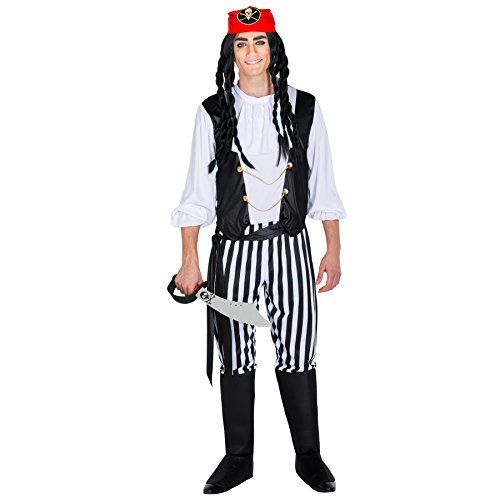 TecTake dressforfun Herrenkostüm Pirat Captain | Hose mit integrierten Stiefelstulpen + Bandana & Bindegürtel | Seeräuber Verkleidung (XL | Nr. 300699)
