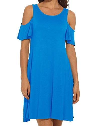 Women's Summer Cold Shoulder Tunic Top Swing T-Shirt Loose Dress with Pockets (60% Off)