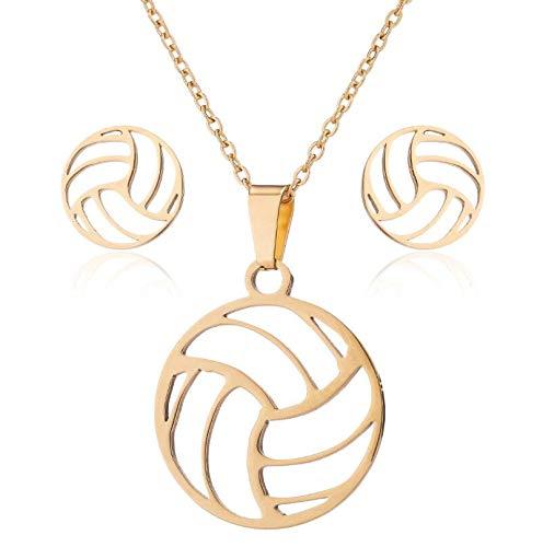 3PCS Damen Anhänger Halskette Ohrring Set, Modeschmuck, Silber Gold Volleyball Schlüsselbein Halskette Kette Leichter Anhänger mit exquisiten Ohrringen Ohrstecker