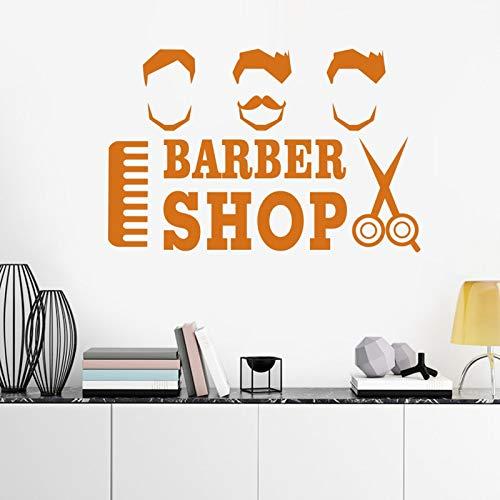 ASFGA Cooler Mann rasieren Bart Friseur Aufkleber benutzerdefinierte Poster Vinyl Wandkunst Dekoration Fensterdekoration Friseursalon Rasiermesser Glas Aufkleber 104x160cm