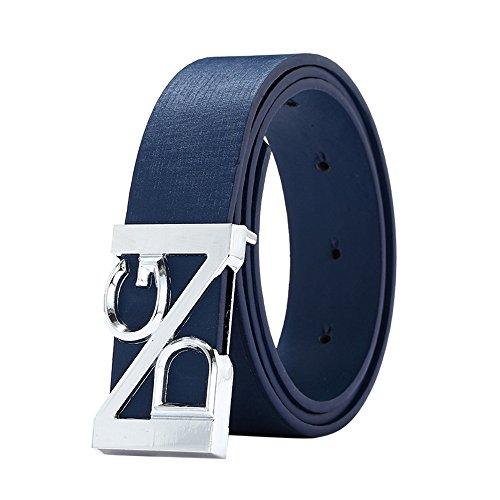 YBWZH Mode cool lässig Leder dünner Gürtel schmaler Bund Unisex mit Buchstaben Schnalle Kleid Metall Gürtel Elastisches Taille Kette Mit Buchstaben Schnalle(Blau)