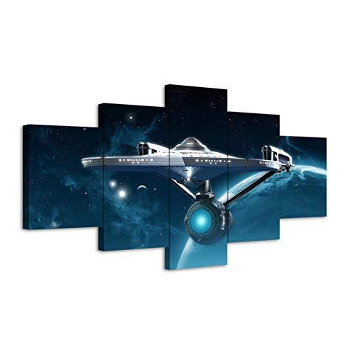 TIANJJss 5 foto's op canvas met 5 stuks filmposter fantasy HD afbeelding muur buiten universum astronave poster canvas schilderij muurkunst decoratie voor thuis