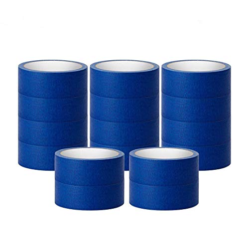 Blue Masking Tape, 16 Roll Multi Purpose Painter Tapes, 1.4 Inch/36 mm Wide,Medium Adhesive Masking Tape with No Residue Behind, 10 Yard/Roll