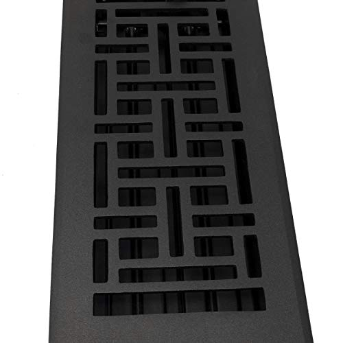 Madelyn Carter Arts and Crafts Floor Registers Black'Cast Iron Look' (Cast Aluminium) (4 x 14 (Overall Size: 5-1/2 x 15-1/2))