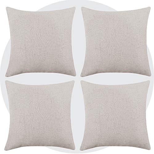 Deconovo Solid Faux Linen Cushion Covers Square Decoration Throw Pillow Cases for Sofa with Invisible Zipper 18x18 Inch 4 Pieces Cream