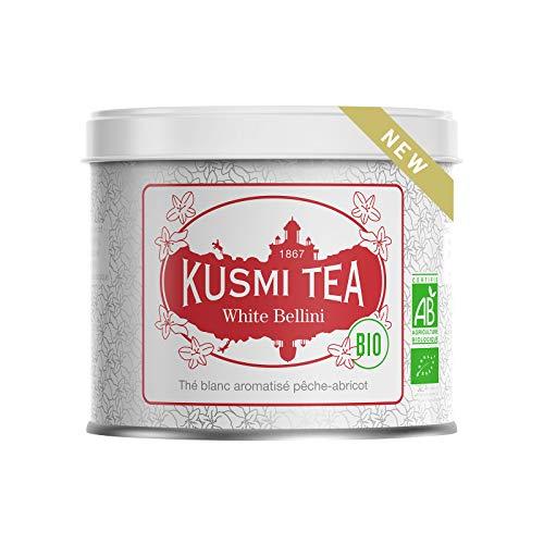 Kusmi Tea - White Bellini Bio - Té blanco con sabor a melocotón y albaricoque - Lata de 90g