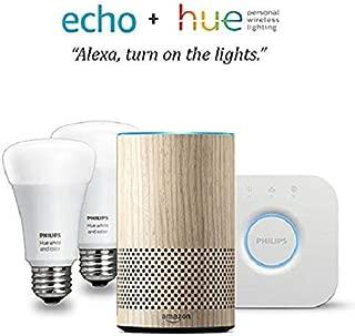 Echo (2nd Gen) - Oak Finish with Philips Hue White and Color Smart Light Bulb Starter Kit