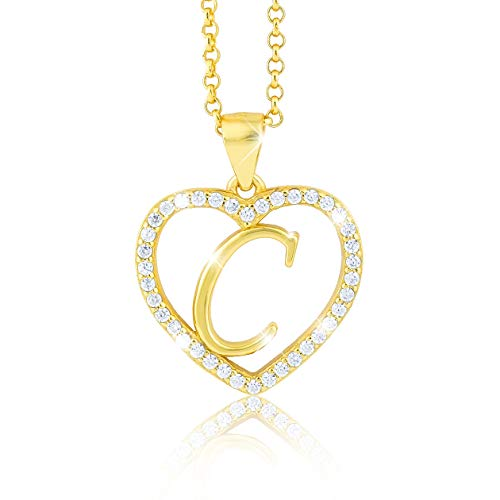 Pacel SS Halsketting met hartvormige letter C, bestaande uit talrijke zirkoniasteentjes, 18-karaats verguld, voor dames en jongeren, met een hoogwaardige sieradendoos en certificaat