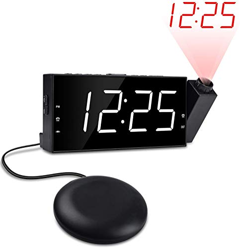 "OnLyee Projection Alarm Cloc for Bedrooms, Dual Loud Alarm Clock with Bed Shaker for Heavy Sleepers, 7"" Large Display, Digital Clock with Dimmer Options, USB Charging Port, Battery Backup"