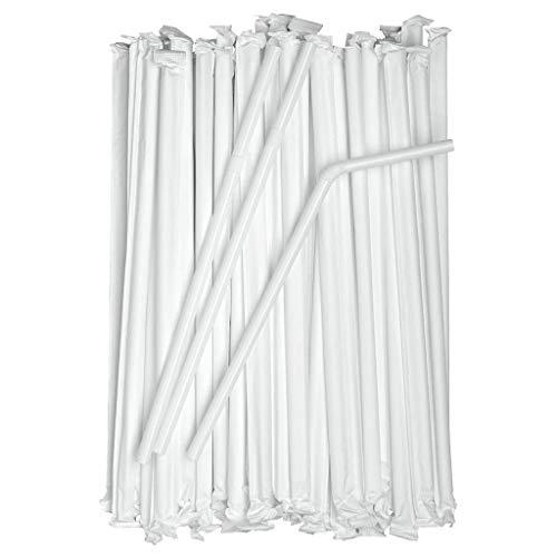 Einweg Plastik Strohhalme mit individuelles Paket, Trinkhalme Plastik Ø 0,23 cm Bendable Einweg Strohhalme ohne BPA Flexibel Bulk Strohhalm für Party, Bar, Getränkegeschäfte, Cocktail, Weiß (100PC)