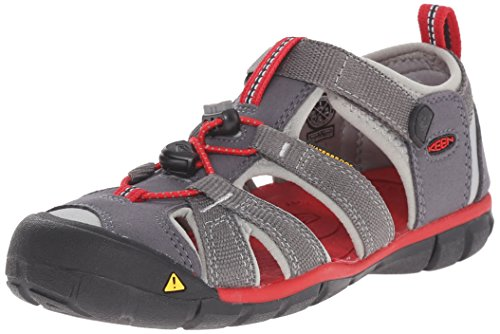 Keen Unisex-Kinder Seacamp II Cnx Geschlossene Sandalen, Grau (Magnet/Racing Red), 34 (1 Kinder UK)