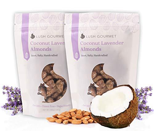 Lush Gourmet Coconut Lavender Almonds - Salted Almonds with Pure Coconut, Lavender, Cane Sugar - Healthy Snacks Free of Cholesterol, Soy & Gluten - Vegan Almond Treats - 7.7 oz