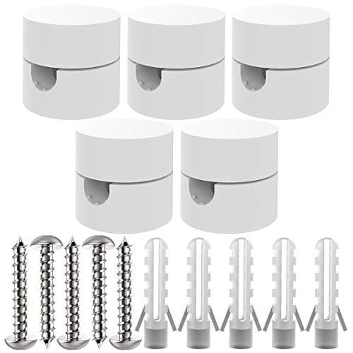 ZOHAR 5 Stück Zweiteilige Wand- und Deckenpins Weiß für Textilkabel Deckenbefestigung Affenschaukel Aufputz-Kabelhalter für Lampe DIY mit Schrauben und Dübeln