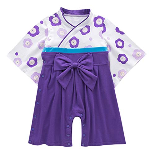 MAYOGO Invierno Bebé Niña Kimono Manga Larga Bebe Bodis Ropa Bebe Niña Bowknot Invierno Ropa para Bebe Chica Bebe Disfraz Ropa Dulces Hija Mameluco 12 Meses, 9-24 Meses