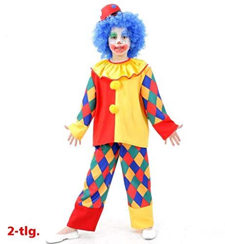 KarnevalsTeufel Kinderkostüm Clown Chico, 2tlg. Oberteil und Hose, kunterbunt, Karneval, Fasching, Zirkus, Mottoparty (128)