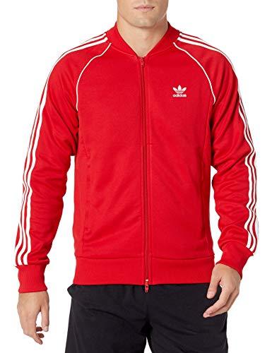 adidas Originals mens Adicolor Classics Primeblue SST Track Jacket Scarlet/White Large